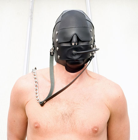 BDSM Hood with Inflatable Penis Gag
