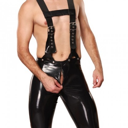 Mens Twisted Latex Trousers with Braces