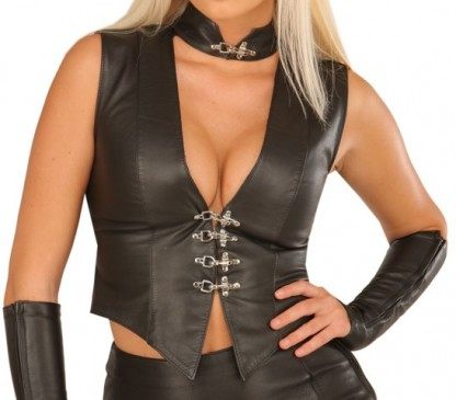Leather Vest for Women with Sexy Collar