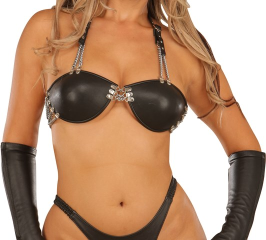 Leather Bra with Shell Cups