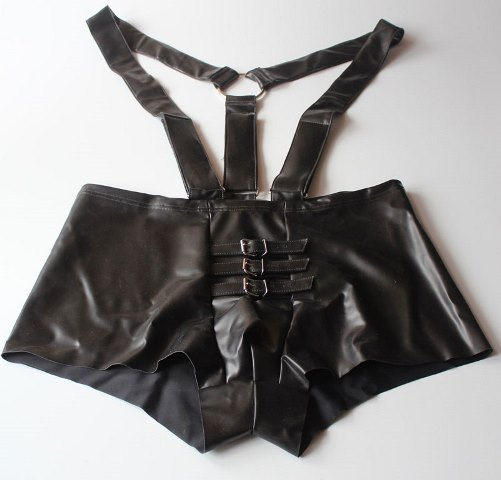 Twisted Latex Shorts with Braces and Cock Straps