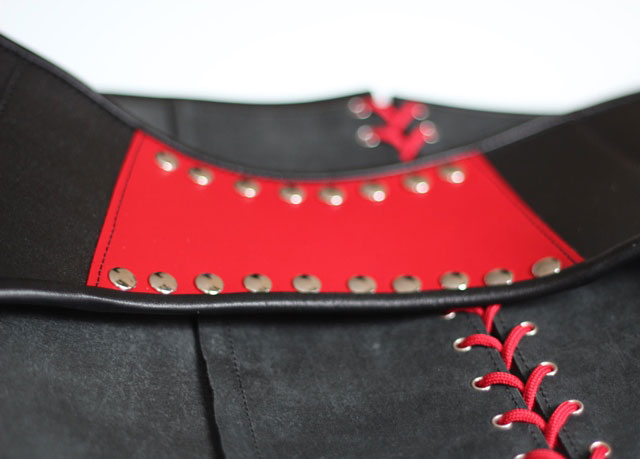 Amazing Leather Suspender Belt with Red Panel