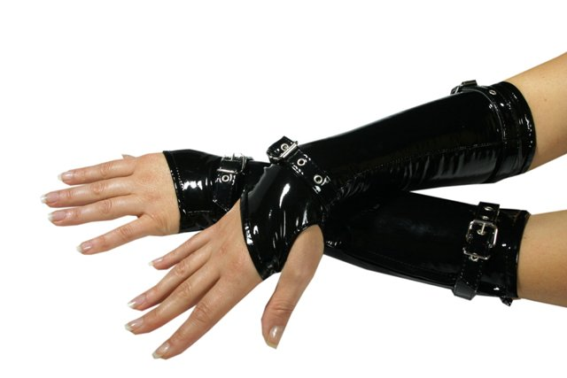 Fingerless Gloves in PVC with Buckles