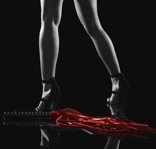 Red BDSM Flogger with Wooden Handle