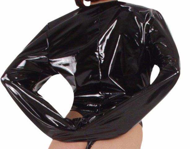 PVC Straitjacket with Exposed Breast