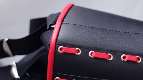 Superior Leather Corset with Red Trim