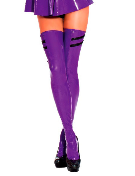 Purple Latex Stockings