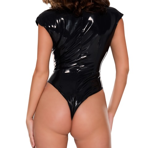 Naughty Twisted Latex Bodysuit with Breast Zippers