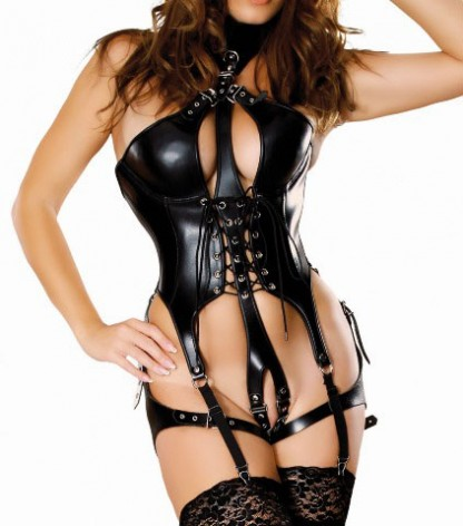 Leather Bodysuit with Collar and Suspenders
