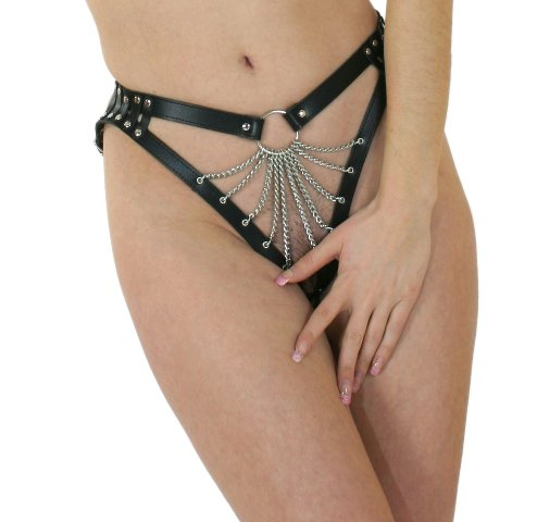 Leather G String with Chain