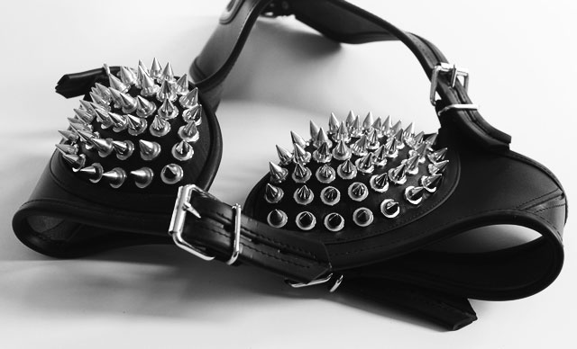 Spiked Leather Bra Lady Gaga Style