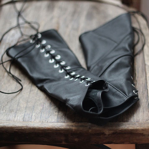 Leather Fingerless Gloves with Trendy Lacing