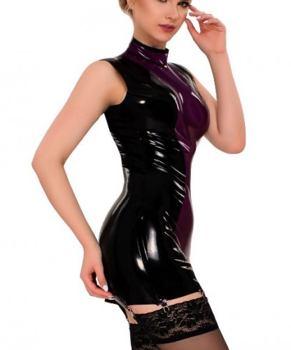 Latex Mini Dress with Front Display