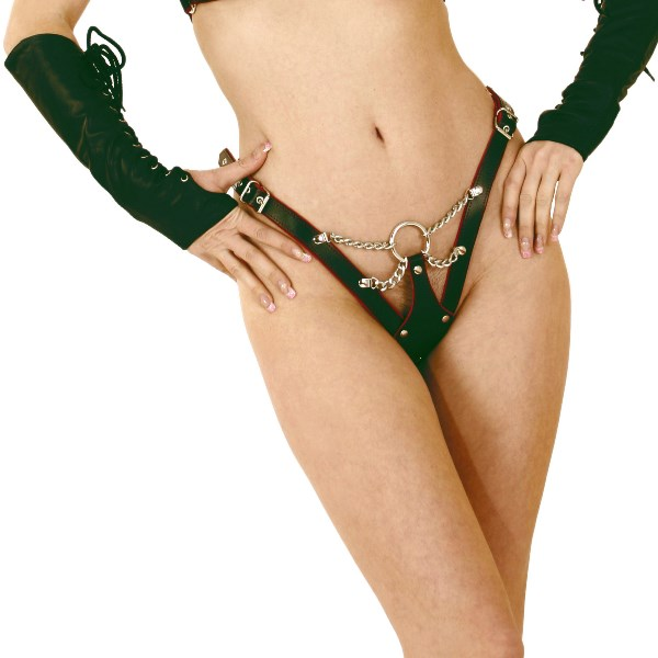 Leather and Chain Thong