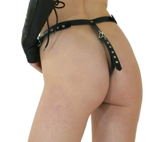Leather G String with Buckled Straps