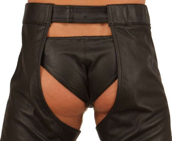Mens Leather Thong with Laced up Front