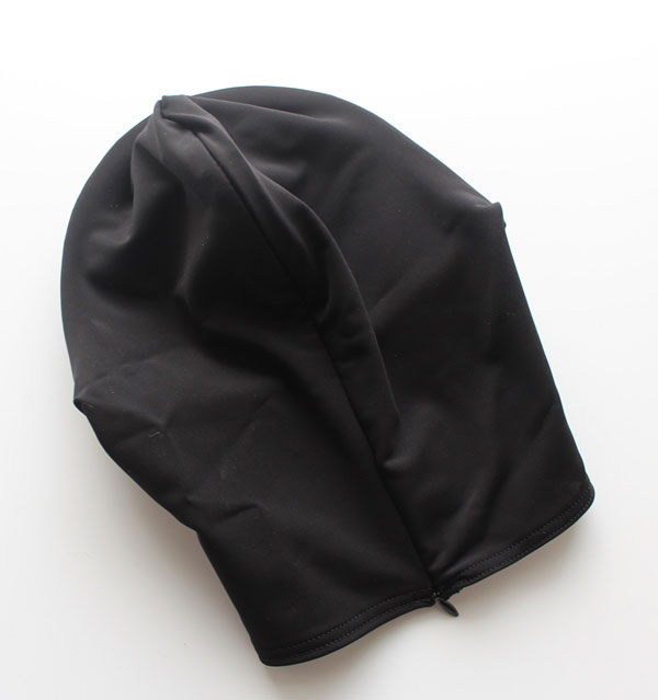 Discreet Lycra Hood with Leather Eye Mask