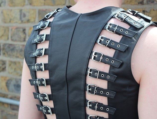 Buckled Top in Leather for Man