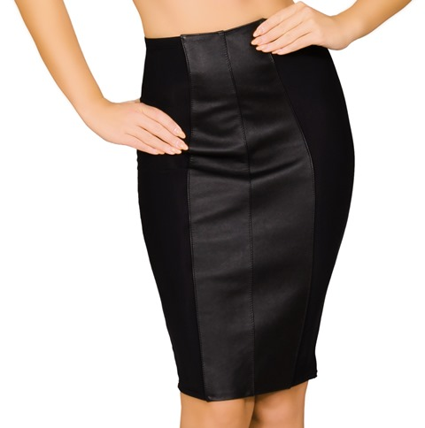 Cutout Leather and Lycra Pencil Skirt