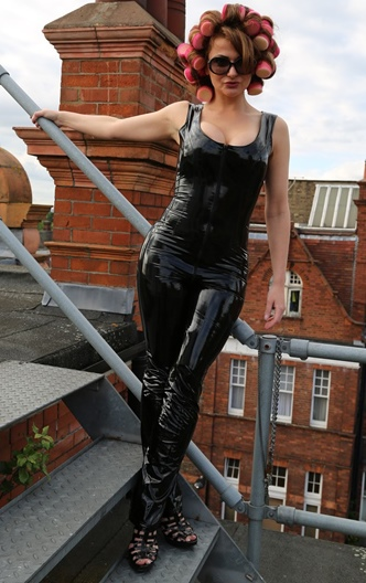 PVC Catsuit with Short Sleeves Size UK 18 SALE