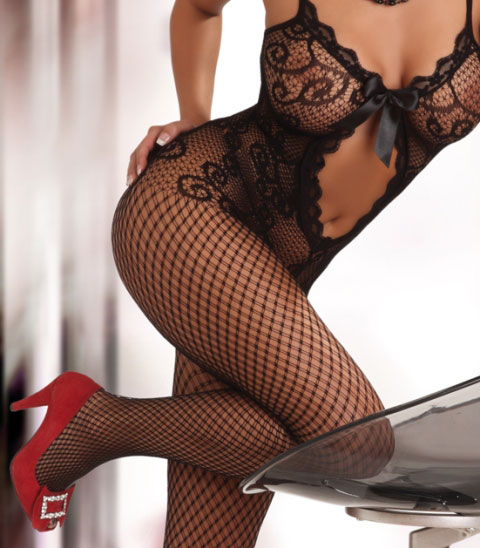 Bodystocking with Keyhole and Satine Bow