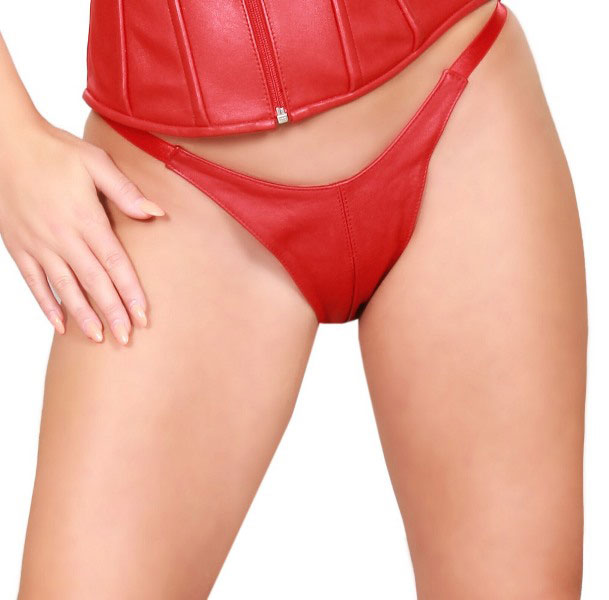 Soft Leather G-string with Split Crotch