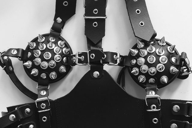 Leather Bondage Harness with Spikes