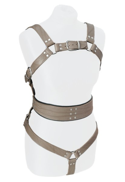Pony Play Body Harness in Browngray Leather
