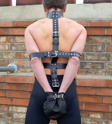 Leather Back Strap Armbinder with Monoglove