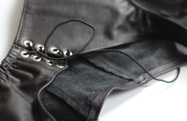 Leather Bondage Thongs with Split Crotch