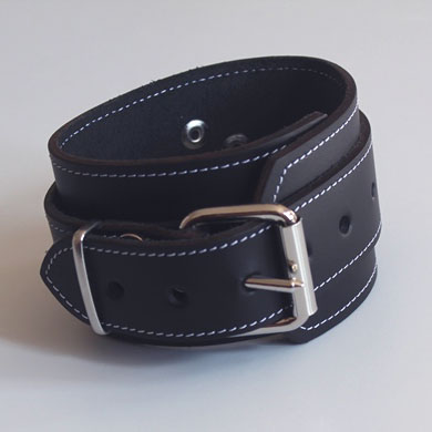 Ankle Cuffs in Bondage Leather with White Stitching