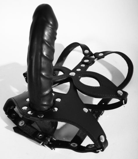 Leather Head Harness with Pecker Gag and External Dildo