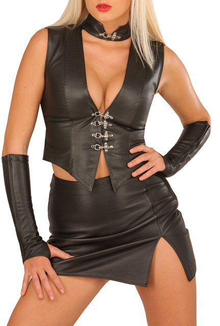 Leather Mini Skirt with Side Slit