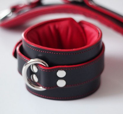 Leather Bondage Ankle Cuffs with Red Padding